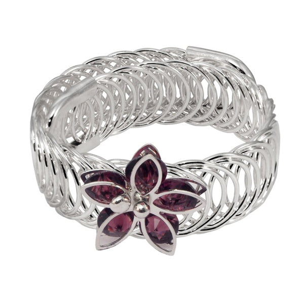 Urthn Purple Austrian Stone Silver Plated floral Adjustable kada