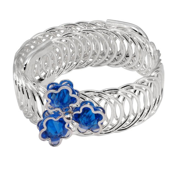 Urthn Silver Plated Blue Austrian Stone floral Adjustable kada