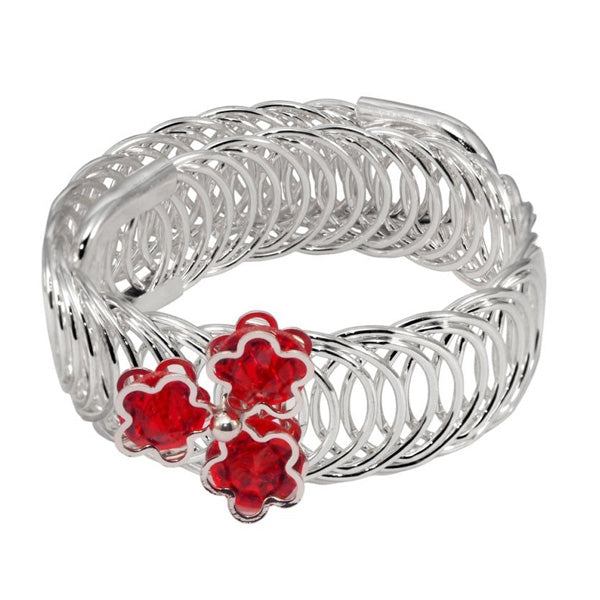 Urthn Silver Plated Red Austrian Stone floral Adjustable kada