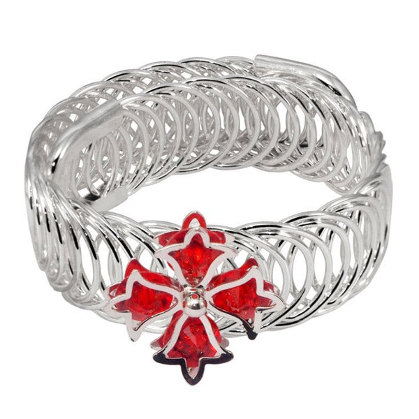 Urthn Silver Plated Red Austrian Stone Adjustable kada