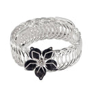 Urthn Black Austrian Stone Silver Plated floral Adjustable kada