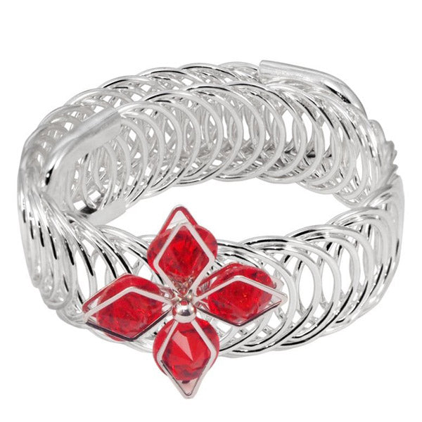 Urthn Red Austrian Stone Silver Plated floral Adjustable kada