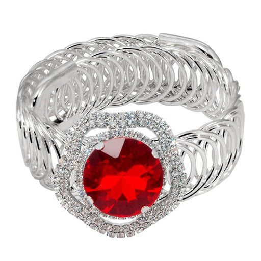 Urthn Red Austrian Stone Silver Plated Adjustable kada
