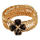 Urthn Black Austrian Stone Gold Plated Floral Adjustable Kada