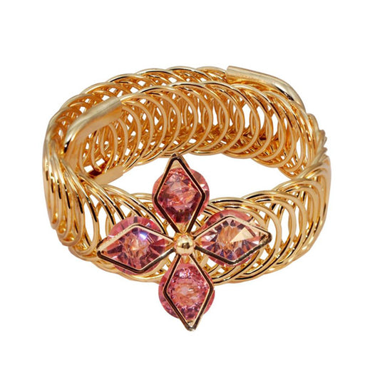 Urthn Gold Plated Pink Austrian Stone Adjustable Kada