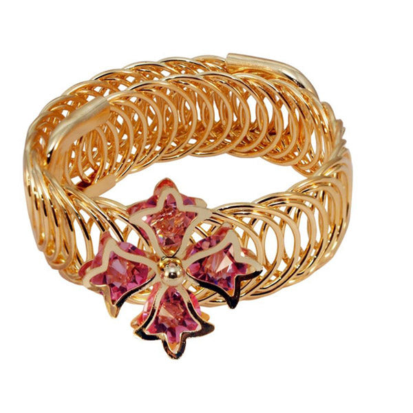 Urthn Pink Austrian Stone Gold Plated Adjustable Kada