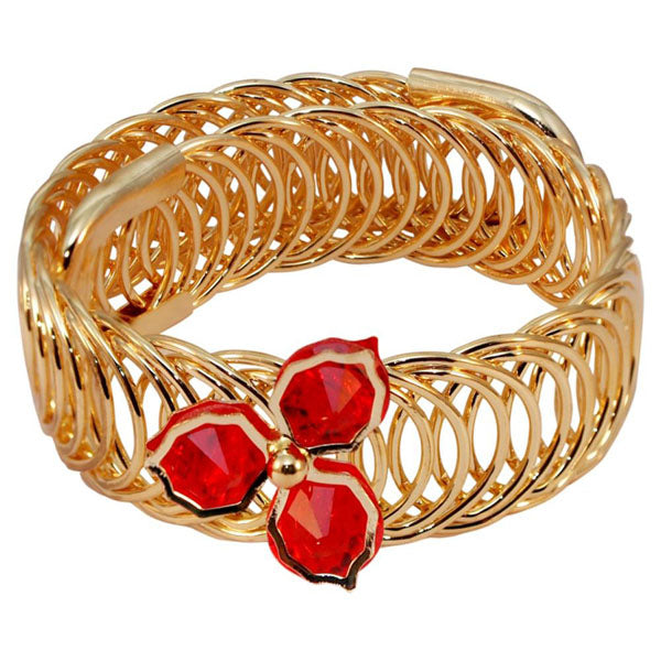 Urthn Gold Plated Red Austrian Stone Adjustable Kada