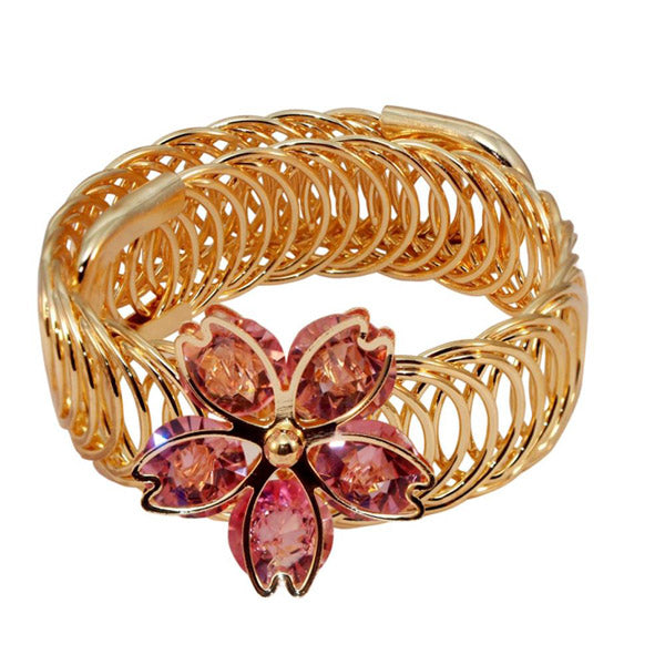 Urthn Pink Austrian Stone Gold Plated Floral Adjustable Kada