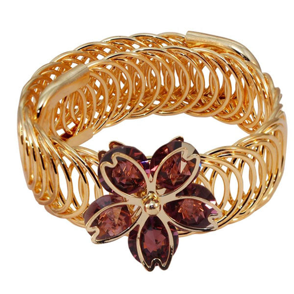 Urthn Purple Austrian Stone Gold Plated Floral Adjustable Kada