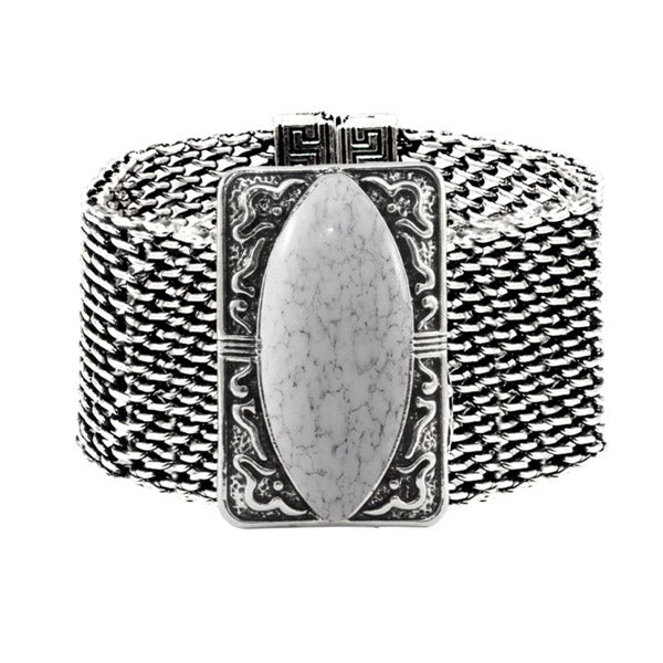 Urthn White Turquoise Texture Stone Magnetic Bracelet