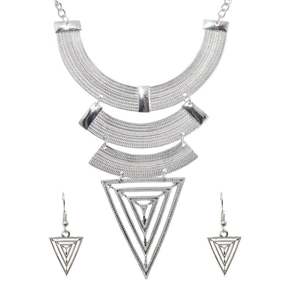 Urthn Silver Plated Geometric Costume Necklace Set