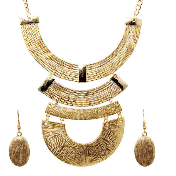 Urthn Gold Plated Geometric Costume Necklace Set