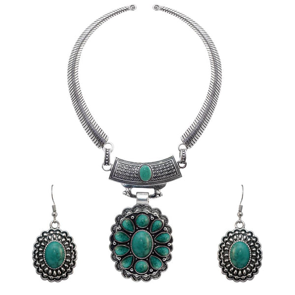 Urthn Turquoise Stone Rhodium Plated Cuff Necklace Set