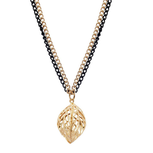 Urthn Glass Stone Gold Plated Double Chain Pendant