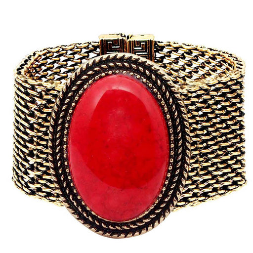 Urthn Red Turquoise Texture Stone Antique Gold Bracelet