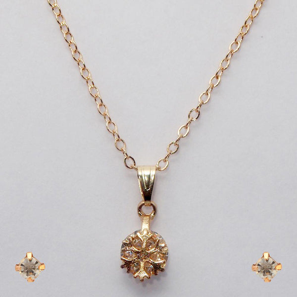 Urthn Gold Plated White Cubic Zirconia Stone Pendant Set