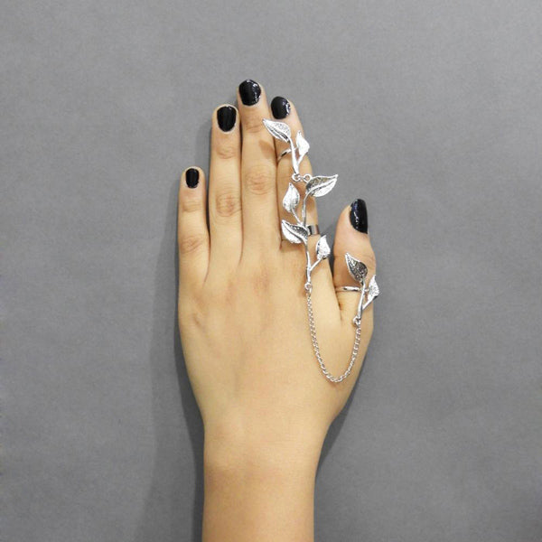 Urthn Silver Plated Chain Leaf Ring With Bracelet