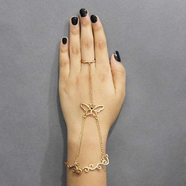 Shop Urthn Gold Plated Austrian Stone Butterfly Ring Bracelet