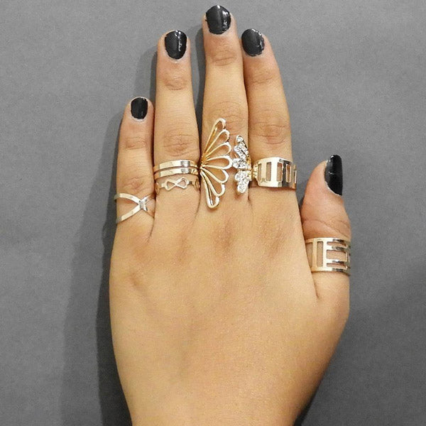 Urthn Austrian Stone Gold Plated Five Finger Ring Set