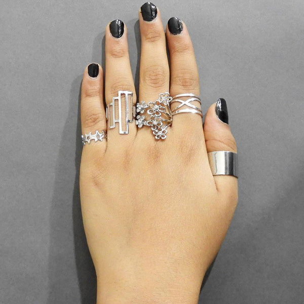 Urthn Silver Plated Austrian Stone Five Finger Ring Set