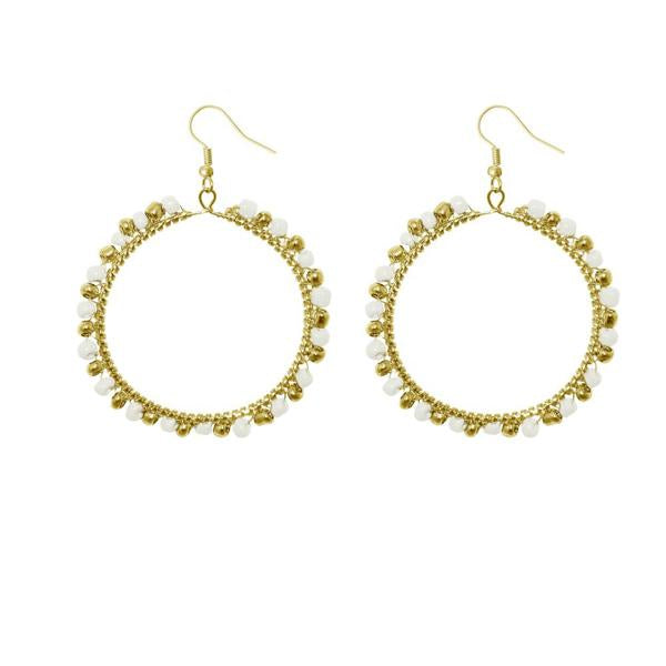 Urthn White Beads Gold Plated Round Shaped Dangler Earring