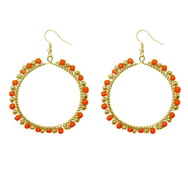 Urthn Red Beads Gold Plated Round Shaped Dangler Earring