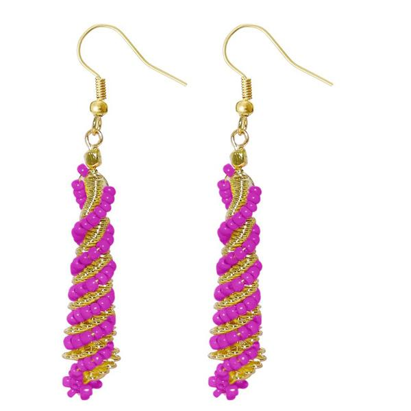 Urthn Pink Beads Gold Plated Dangler Earring