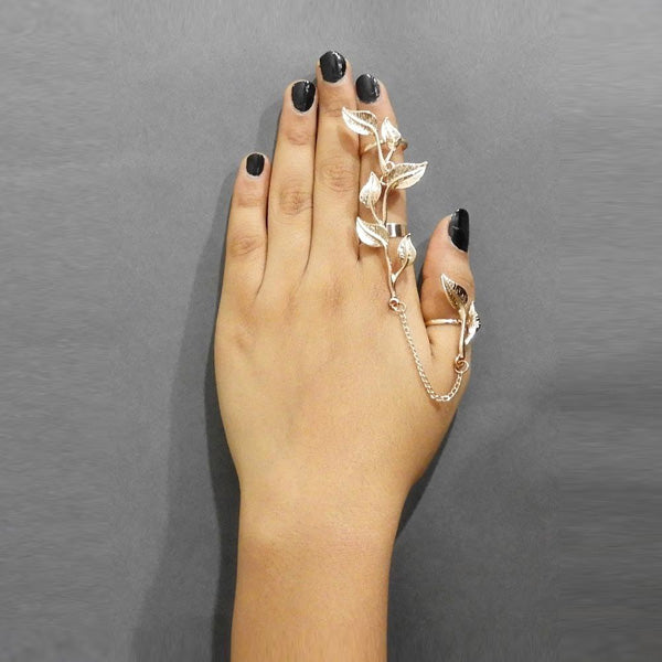 Urthn Silver Plated Chain Leaf Ring