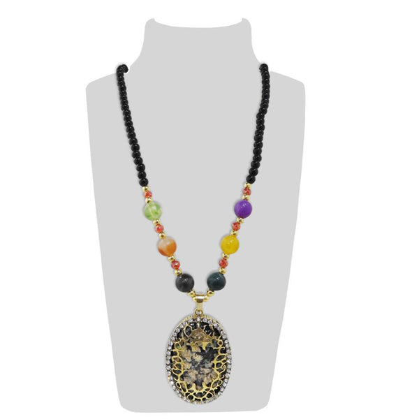 Urthn Multicolor Beads And Austrian Stone Necklace