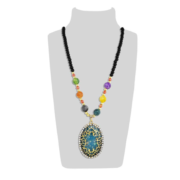 Urthn Blue Resin Stone And Multicolor Beads Necklace