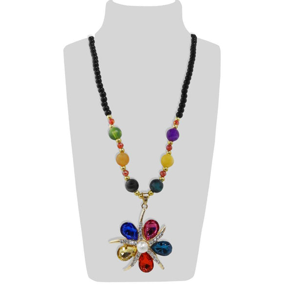 Urthn Multicolor Beads & Stone Floral Shape Necklace