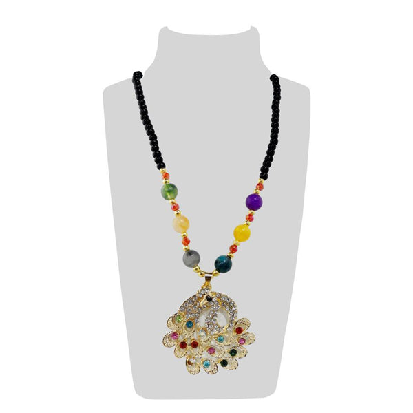 Urthn Multicolor Beads & Stone Peacock Shape Necklace