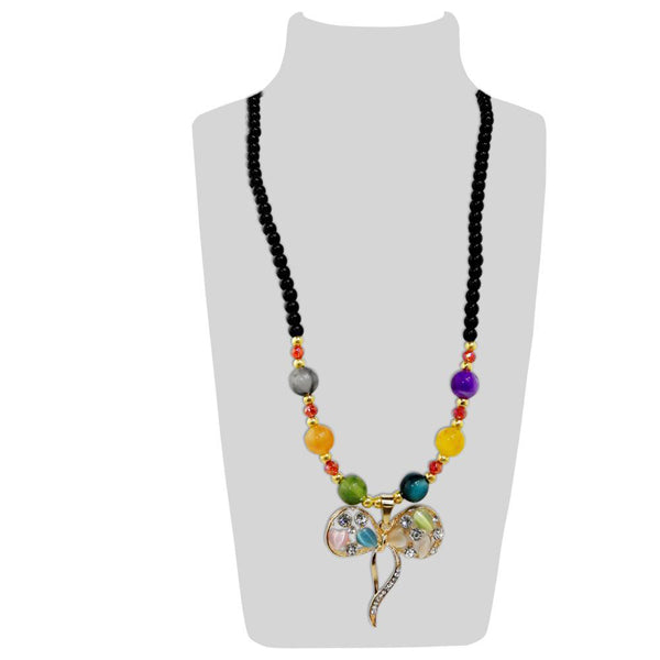 Urthn Gold Plated Multicolor Beads & Stone Necklace