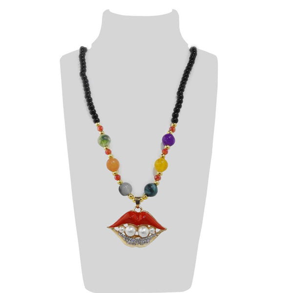 Urthn Multicolor Beads & Stone Lips Shape Necklace