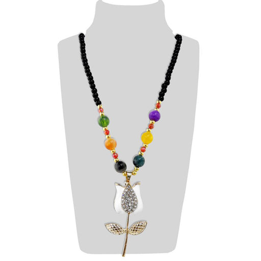 Urthn Multicolor Beads & Stone Lotus Shape Necklace