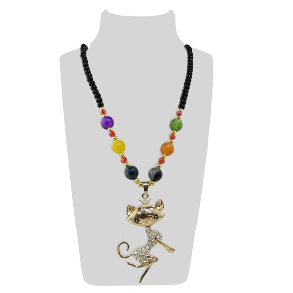Urthn Multicolor Beads & Stone Fox Shape Necklace