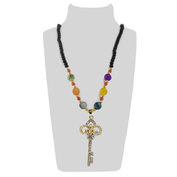 Urthn Multicolor Beads And Stone Key Necklace