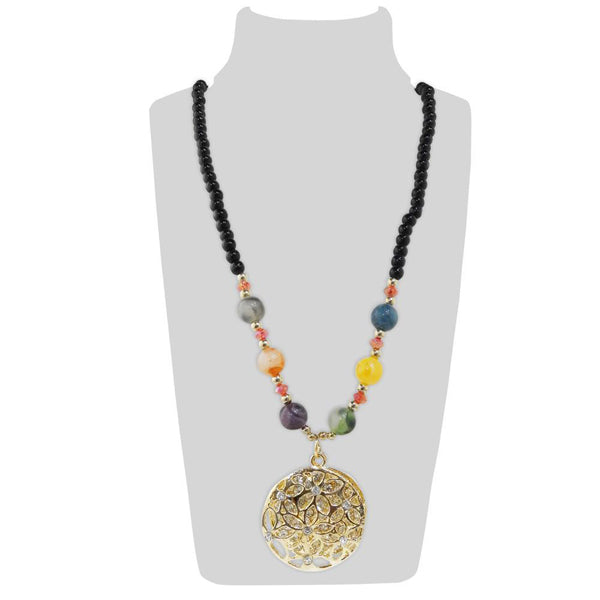 Urthn Multicolor Beads Stone Gold Plated Necklace