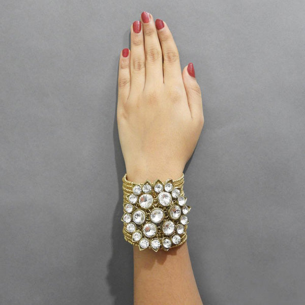 Urthn Glass Stone Gold Plated Openable Kada