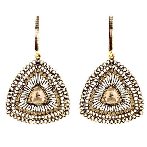 Urthn Austrian Stone Antique Gold Plated Dangler Earrings