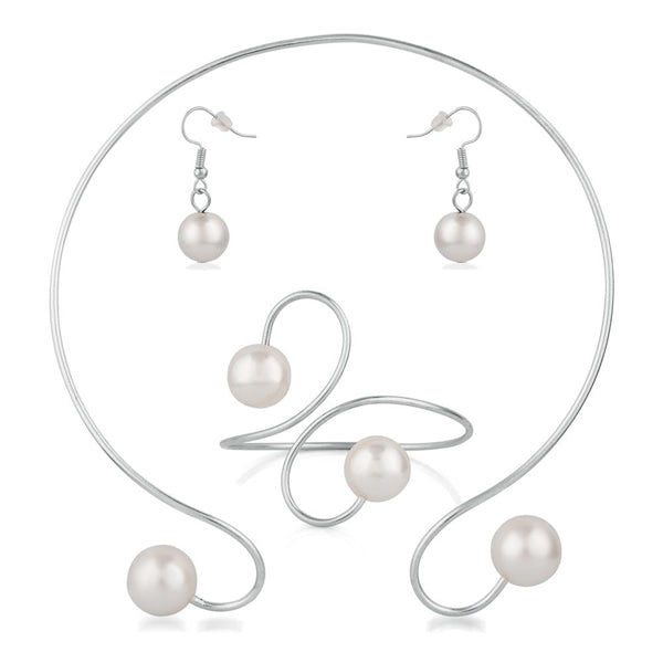 Urthn Silver Plated Pearl Cuff Necklace Set With Bracelet