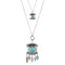Urthn Crystal Stone Silver Plated 2 Layer Chain Necklaces