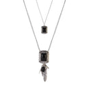 Urthn Silver Plated Pota Stone 2 Layer Chain Necklaces