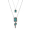 Urthn Gems Stone Silver Plated 2 Layer Chain Necklaces