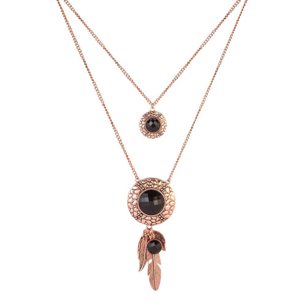 Urthn Rose Gold Plated Crystal Stone 2 Layer Chain Necklaces