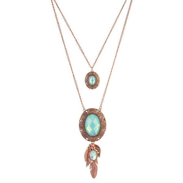 Urthn Crystal Stone Rose Gold Plated 2 Layer Chain Necklaces