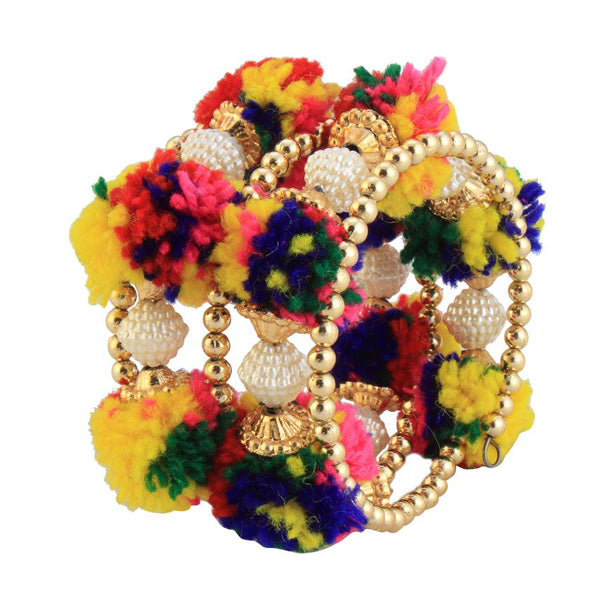 Urthn Gold Plated Multicolor Thread Kada