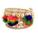 Urthn Gold Plated Pearl Multicolor Thread kada