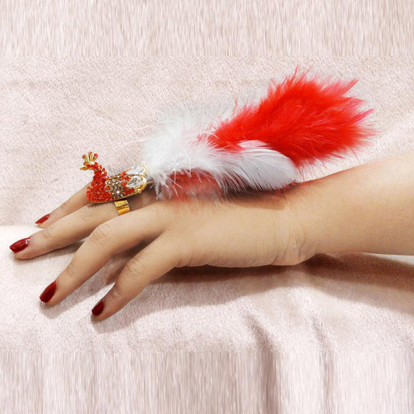 Urthn Red Austrian Stone Peacock Feather Adjustable Ring