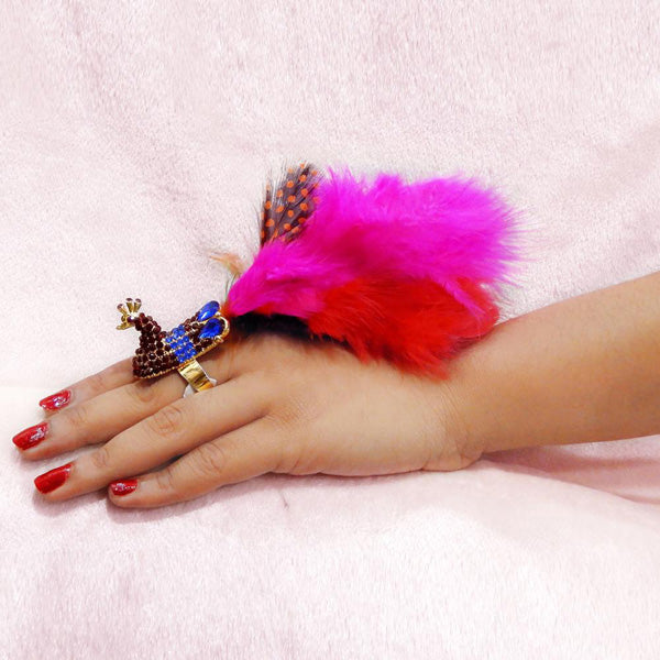 Urthn Purple Austrian Stone Peacock Feather Adjustable Ring